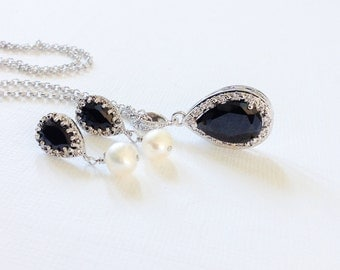 Statement Black jewelry, Bridesmaid jewelry Set of 5 necklace earrings, Black Wedding bridesmaids jewelry, Black cz studs earings necklace