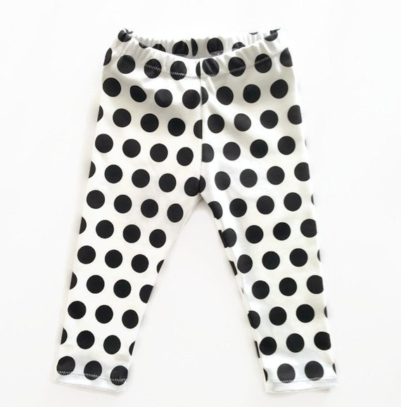 Polka Dot Leggings Organic Black White Baby Girls by RebelandHeart
