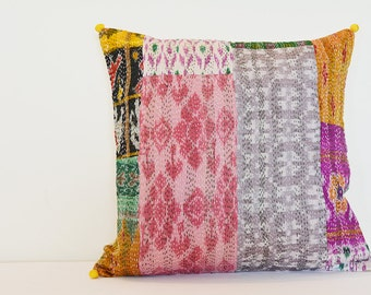 Vintage Kantha Cushion Cover , Decorative Pillow , Accent Pillow , Vintage Kantha Pillow , Kantha Throw Pillow , Kantha Scatter Cushions