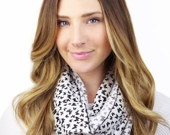 BLACK BUTTERFLY SCARF, abigail, black and white butterfly print infinity scarf