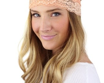 SALE - PEACH HEADBAND, wide light coral lace stretch headband