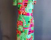 1960s Roger Freres dress Simon Paris psychedelic print 1970s green pink black orange shift dress pockets abstract scarf print