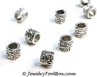Barrel Beads, 8x9mm, 6mm Large Hole, Antique Silver Pewter, Lot Size 6 to 40, #1260 BH