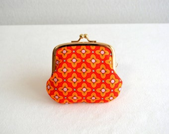 New! Retro orange tiny coin purse - floral, Scandi, Mod. Handmade in Japan. Ready to ship.