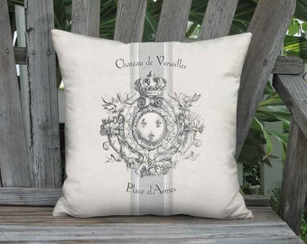 Pillow Cover - Pillow - Heraldry French Country Grain Sack Style - Grey Linen Cotton Château de Versailles 16x 18x 20x 22x 24x 26x 28x Inch