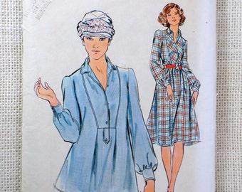 Vintage Butterick 4395 pattern 1970s hippie dress Smock Bust 34 collar tie waist