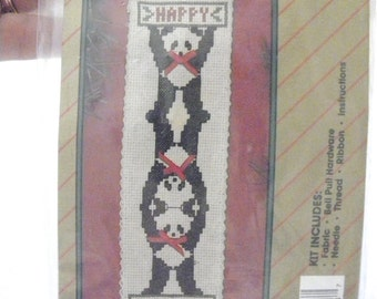Pandas Happy Holidays Counted Cross Stitch Bell Pull Kit