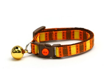 Fall Cat Collar - Orange, Brown, and Yellow Fall Harvest Stripes  - Small Cat / Kitten Size or Large Size