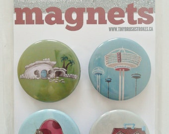 Nostalgic MAGNET Set No.6 ft ORIGINAL PAINTINGS from 100 tiny brushstrokes childhood memory project