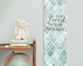 Custom/ Personalized Loved Beyond Measure canvas growth chart with blue and gray watercolor trellis design