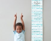Custom/ Personalized Watch Me Grow canvas growth chart with blue watercolor scallops