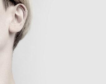 Circle & Long Line - silver ear cuff - sterling silver curved ear cuff earring - minimalist ear cuff
