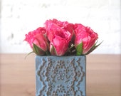 Bronze Blue Ceramic Lace Mini Square Vase-Salt Pepper Cellar with Bamboo Spoon