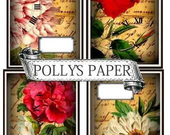 Floral Label Cards Collage Digital Images printable download file set of 4
