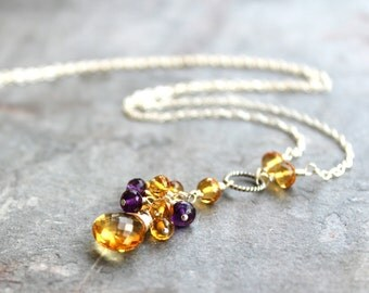 Citrine Necklace Amethyst Cluster Cascade Sterling Silver Semi Precious Gemstone Necklace