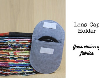 Lens Cap Pocket for DSLR Camera Strap - Choose Custom Fabrics and Size - Made to Order