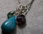 Turquoise Charm - Create your own mothers necklace using your family's birthstones