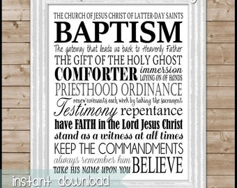 LDS BAPTISM Subway Art, Print or Sign, Convert Gift - Printable Instant Download