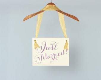 JUST MARRIED Hanging Wedding Sign | Flower Girl Ring Bearer Banner | Paper Graphic w/ Ribbon | Handmade in USA | Modern Script Font Prop