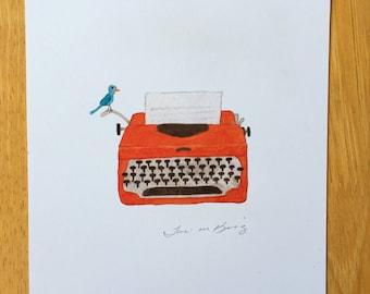 Vintage, Orange, Typewriter, Forget Twitter, WRITE ME A LETTER, Tactile, Ephemera, Snail Mail, Vintage Inspired, Watercolor, Art Print