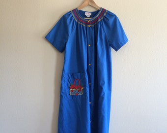1 9 6 0 s / Smart Time Cherry Basket House Dress