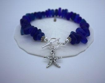 Cobalt Blue Sea Glass Bracelet, Charm Bracelet, Seaglass Bracelet Beach Glass Bracelet Beach Bracelet Sea Glass Jewelry Seaglass Jewelry 031