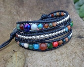 Ready to ship today! Handmade Leather Wrap Bracelet - Multicolored faceted and silver beads on leather