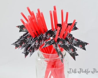 Black and Red Pirate Party Straws - 30 count - argh matey, skull crossbones