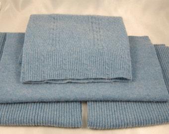 FELTED CASHMERE PIECES Baby Blue Woolen Sweater Scraps 1423
