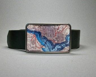 Belt Buckle Washington DC Vintage Map Unique Gift for Men or Women