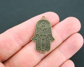 SALE 2 Hamsa Hand Connector Charms Antique Bronze Tone - BC619