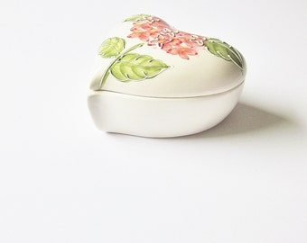 Puffy Heart Shaped Trinket Box - Painted Ceramic Jewelry Box - Vintage Heart Shaped Ring Dish - Gift Of Love For Her - Wife Mom Grandmother