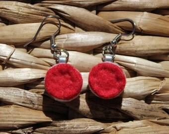 Felted Sandwich Cookie Earrings in Scarlet