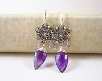Sale - Sterling Silver Earrings - Dangle Earrings - Genuine Amethyst Gemstone Jewelry - Wire Wrapped Jewelry Handmade - Healing Crystals and