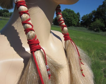 Leather Hair Wraps Ties  Bead Ponytail Holders Red Suede Beaded Braid Hair Extensions Bohemian Hair Styles  Z114