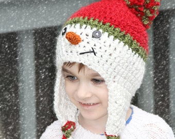 Christmas Hat - Snowman Hat, Child Snowman Hat, Baby Snowman Hat, Newborn Snowman Hat, Photo Prop, Select Size, Red, Green, White