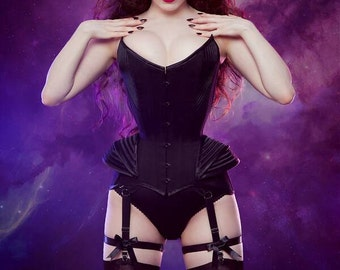 Black Corded Sci-fi Overbust Corset with Hip Fins