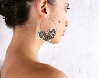 Art Deco Earrings - Geometric Earrings - Fan Hoop Earrings - Hoop Earrings