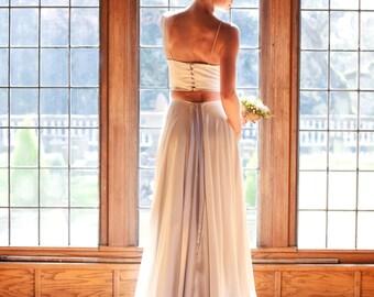 Crop Top Wedding Dress Two Piece, Hi Low, SANGRIA, Halter with Train, Ivory, Alternative