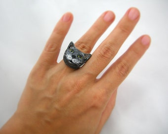 Cat Ring, smiling cat face with whiskers, adjustable ring, custom cat likeness portrait