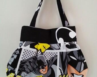 Batman comic book strip logo super hero character handbag tote messenger bag