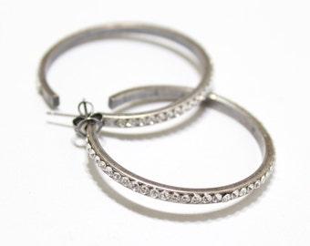 """Swarovski Crystal Hoop Earrings 1.5"""" in Diameter"""