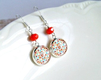 quilted silver plated cabochon earrings, red aqua, geometric, french hook, summer