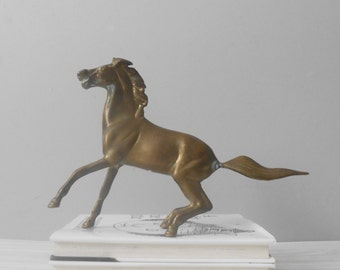 mid century heavy solid brass horse figurine / stallion / paperweight / shelf display