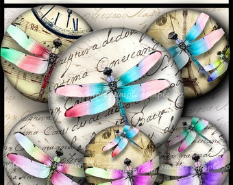 INSTANT DOWNLOAD Colorful Dragonflies (767) 4x6 and 8.5x11 ( 30mm ) Digital Collage Sheet glass tiles cabochon pendants images