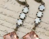 Peach Earrings Opal Earrings Dangle Earrings Rhinestone Earrings Set In Antique Brass Long Earrings Bridesmaids Clip On Earrings Available