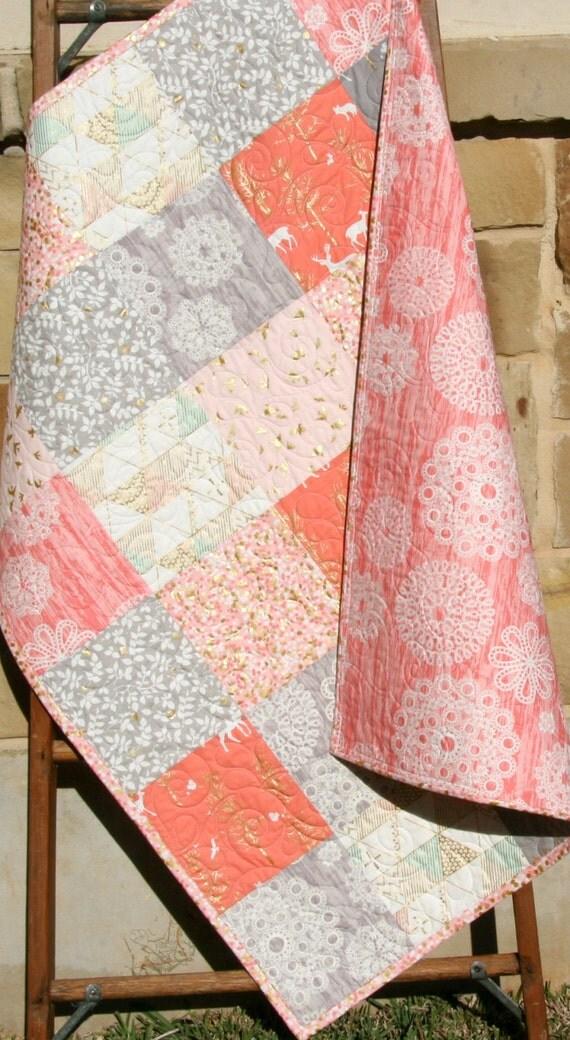 Rustic Baby Quilt Girl Crib Bedding Deer By Sunnysidedesigns2