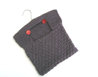 Purple 100% cotton hand knitted  Peg Bag , clearance sale , half price