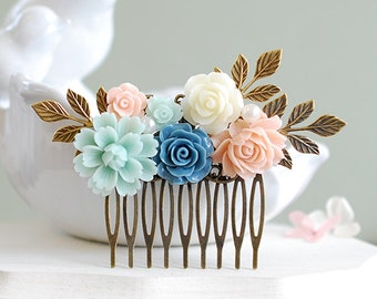 Soft Pink Mint Green Dusty Blue Ivory Rose Hair Comb Mint and Pink Wedding Hair Comb Bridal Hair Accessory Bridesmaid Gift Brass Leaf Comb