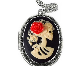 Skeleton Locket - Lady Cameo Necklace - Ivory Skull Zombie